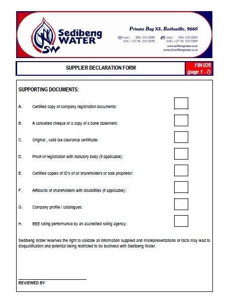 Vendor Application Form – Sedibeng Water